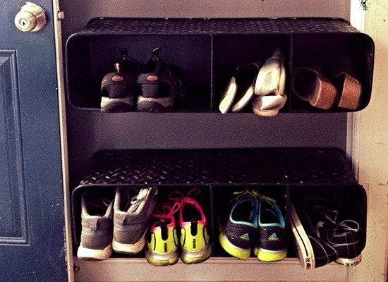 Almost Any Wall Shelving Unit Can Be Remade As An Off The Floor Shoe Rack A Case In Point These Tire Tread Shelves Bonus Elevated Storage Gives