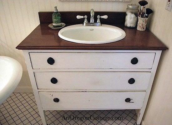 Repurposed dresser 10 ways to reuse a dresser bob vila - Bathroom vanities made from old dressers ...