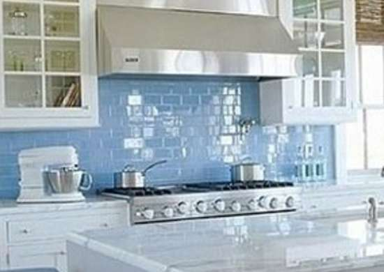 Subwaytileoutlet sky blue glass kitchen backsplash
