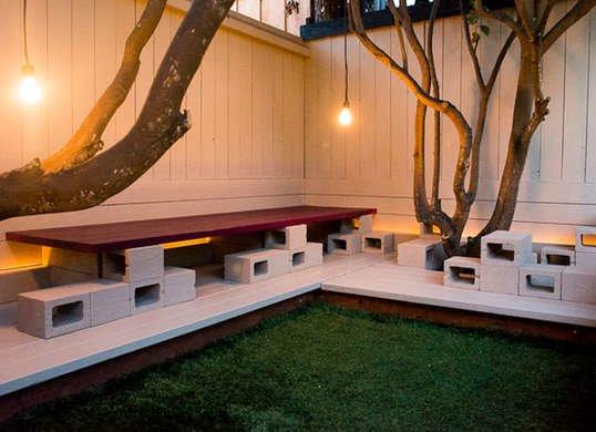Cinder block deck
