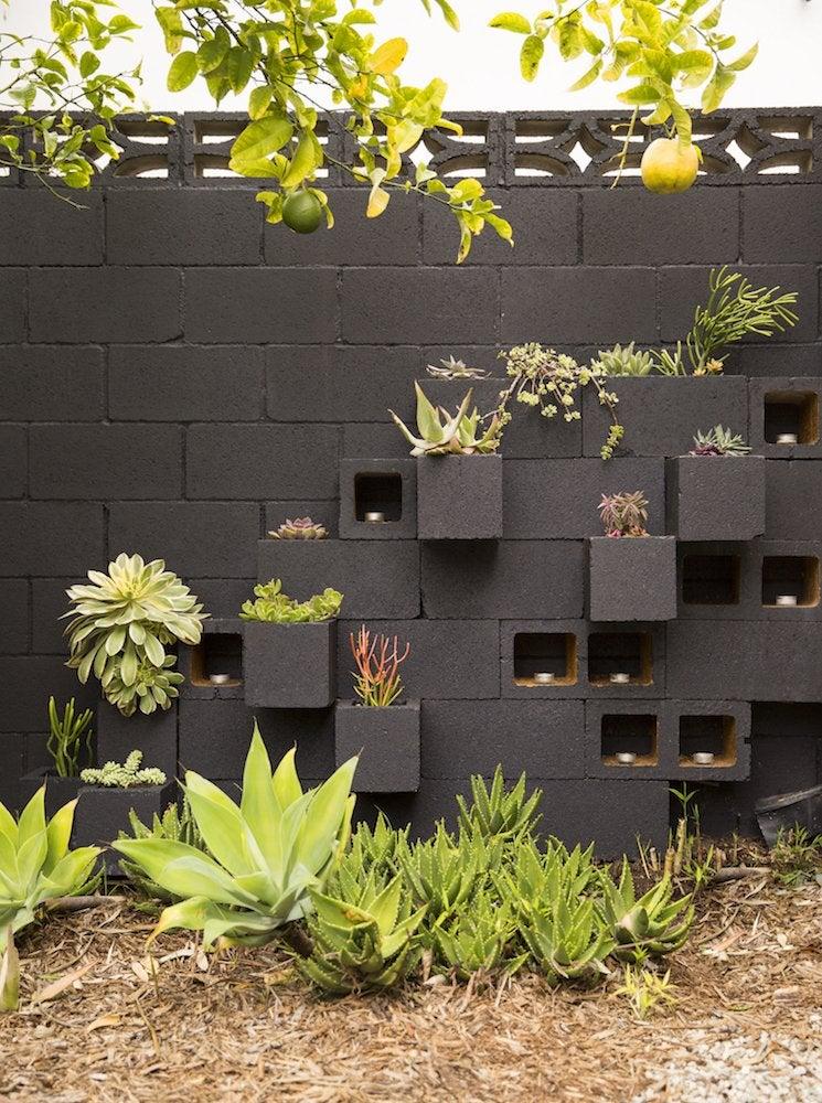 Cinder block garden wall