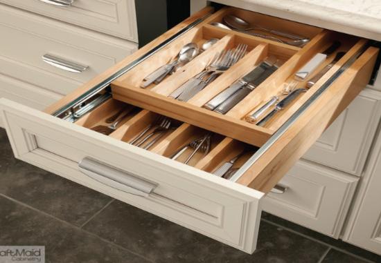 Leveling Drawer Slides : Double level drawer organizer kitchen organizers