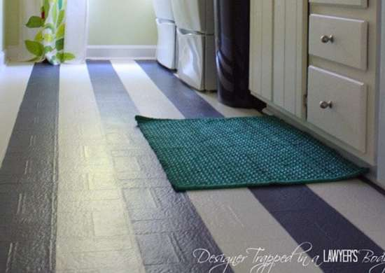How to paint vinyl tile floors diy hate those vinyl for Painting over vinyl floor