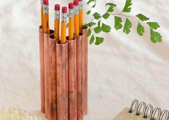 Copper Pipe Pencil Holder