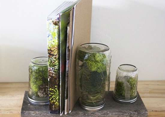 Diy bookends how to build a terrarium terrarium ideas for Mason jar bookends