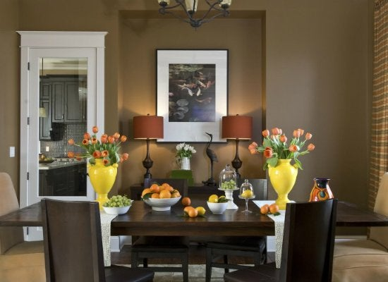Brown dining room paint colors for dark rooms 9 for Popular dining room colors