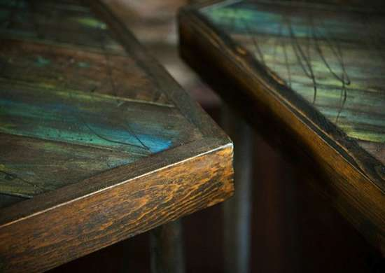Salvaged Wood Tables - Close