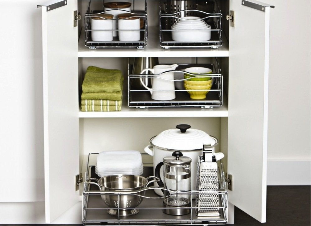 pull out shelves kitchen storage solutions 7 easy. Black Bedroom Furniture Sets. Home Design Ideas