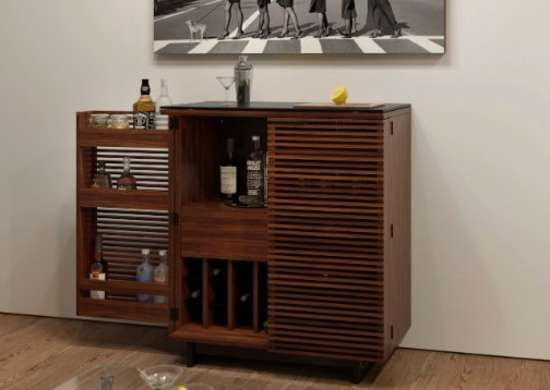 Home Bar in Chocolate Stained Walnut Finish