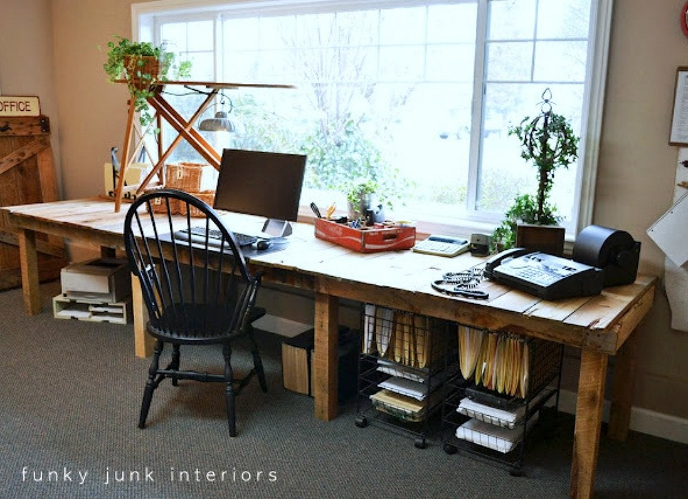 A Simple Trick For Nook Workplace Desk Revealed At 12u0027 long and 3u0027 deep, this farm table-style desk has plenty of room on  top and down below. But the fact that itu0027s big in size doesnu0027t mean that  itu0027s ...