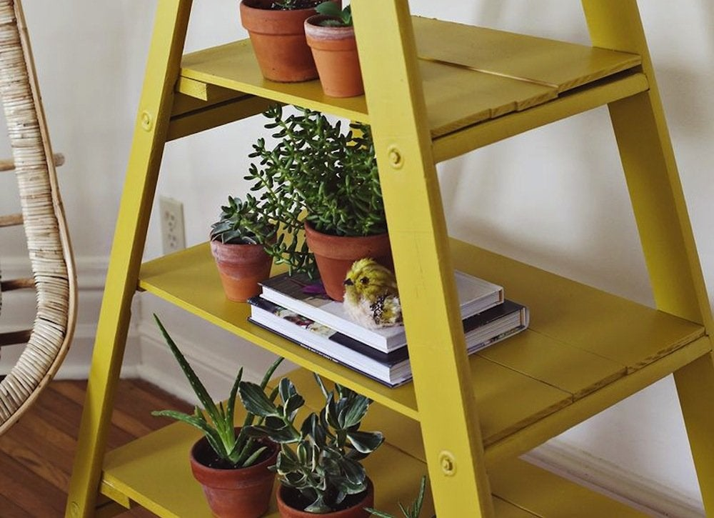 Ladder shelf ladder diy projects 9 things to make for Old wooden ladder projects