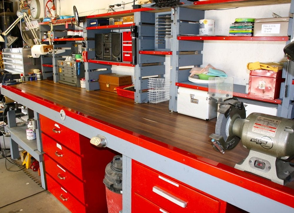 Garage workshop garage ideas 7 must haves bob vila for Garage with shop