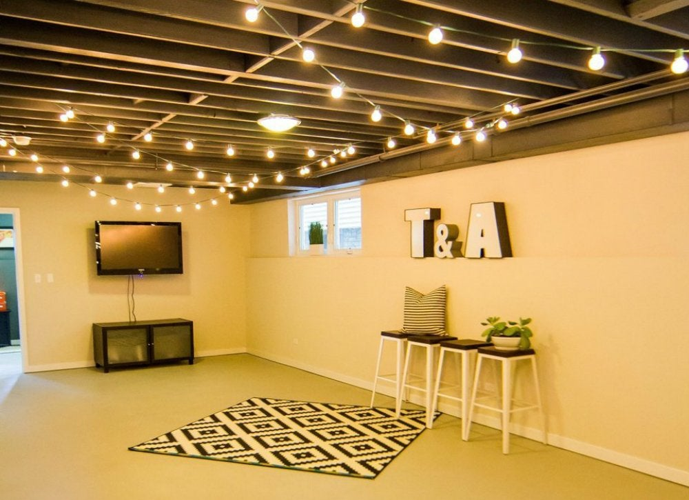 Hang String Lights. Most unfinished basements ... & Unfinished Basement Ideas - 9 Affordable Tips - Bob Vila