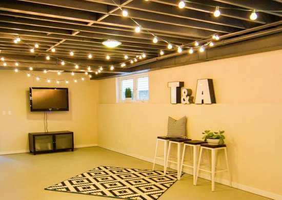 hang string lights unfinished basement ideas 9 affordable tips bob vila. Black Bedroom Furniture Sets. Home Design Ideas