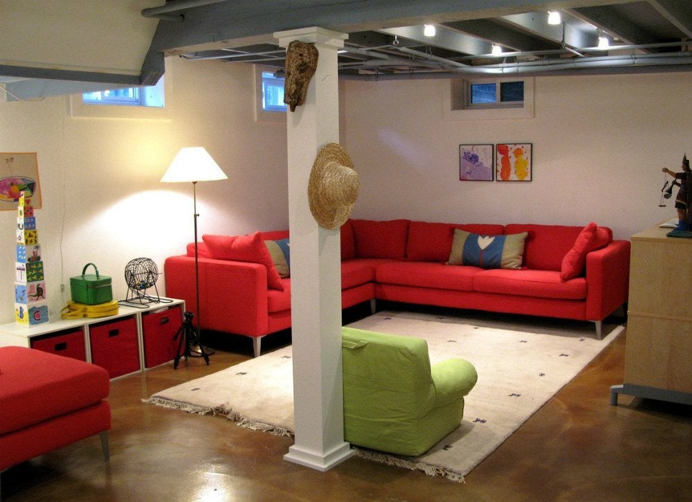 Unfinished basement ideas 9 affordable tips bob vila for Basement flooring ideas pictures