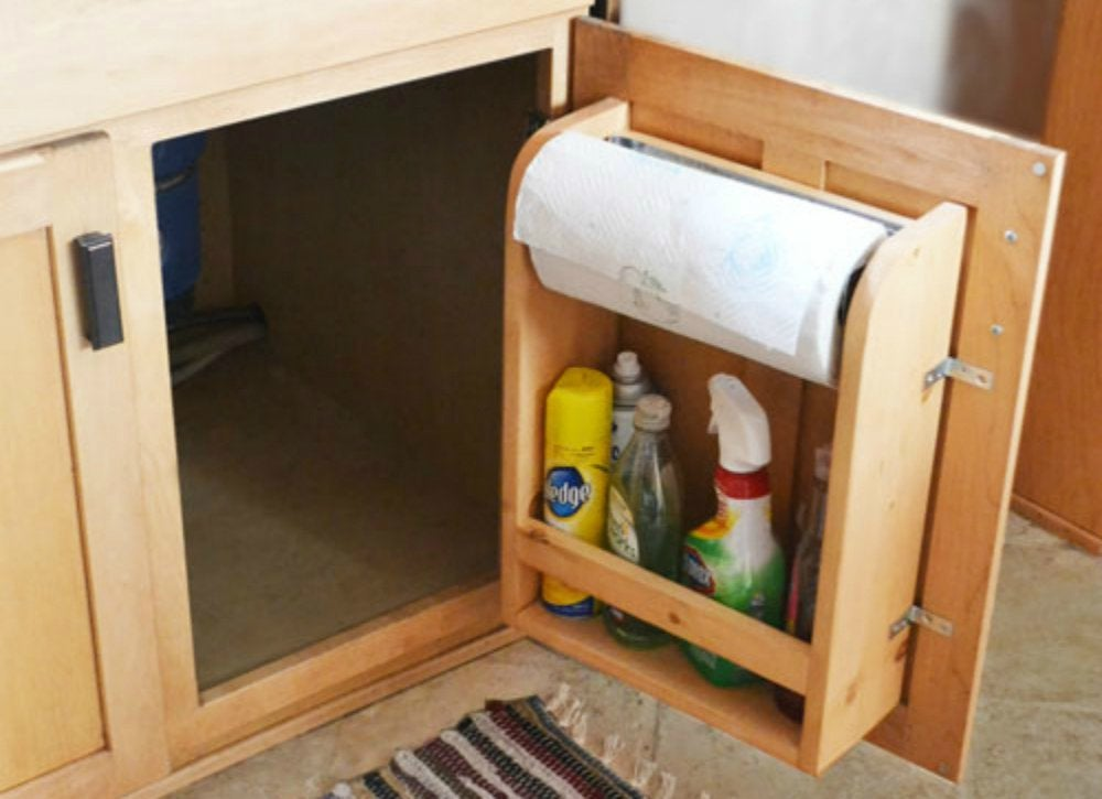 Diy paper towel holder under sink storage ideas to buy Diy under counter storage