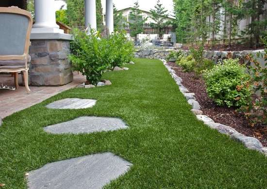Artificial grass low maintenance landscaping 17 great for Garden design ideas artificial grass