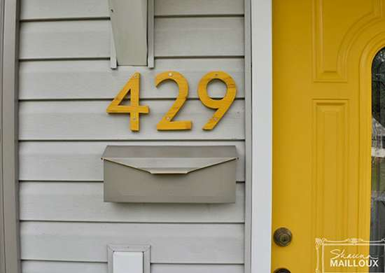 Painted mailbox and house numbers