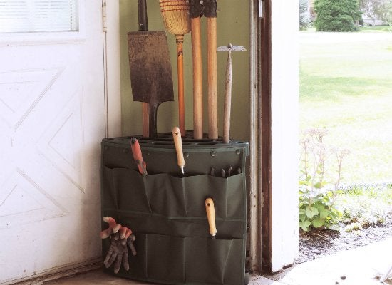 Stalwart corner tool rack with storage bag