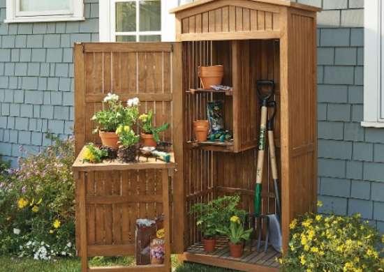 Frontgate teak garden storage