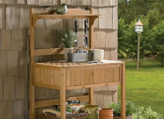 Merry garden potting bench with recessed storage
