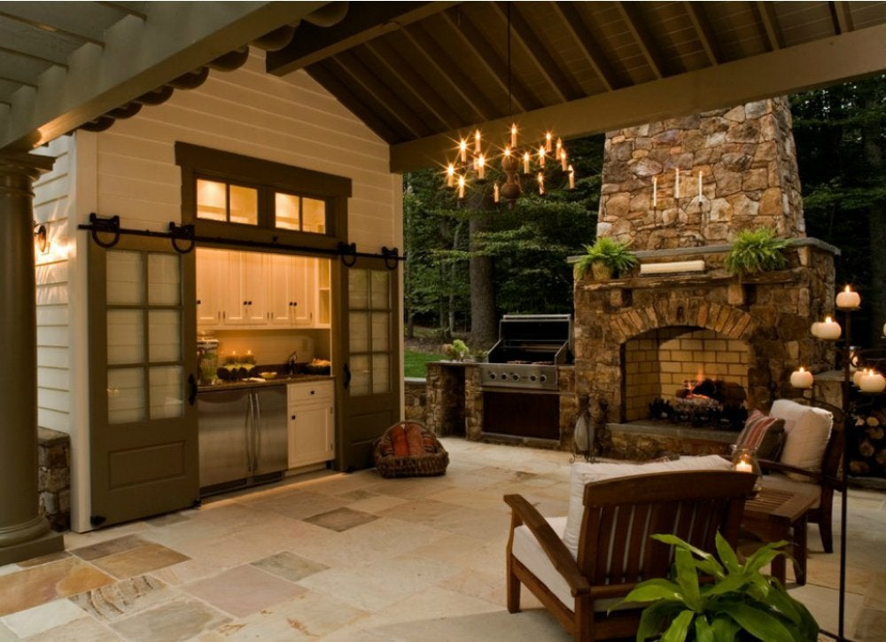 Outdoor kitchen ideas 10 designs to copy bob vila for Outdoor room with fireplace