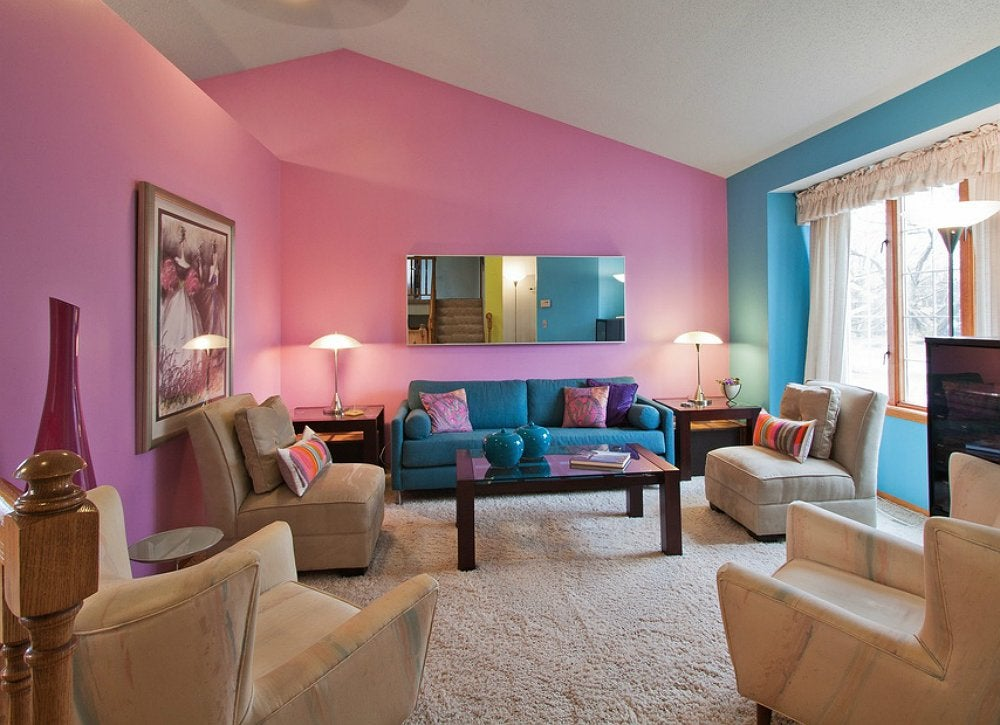 Blue pink living room