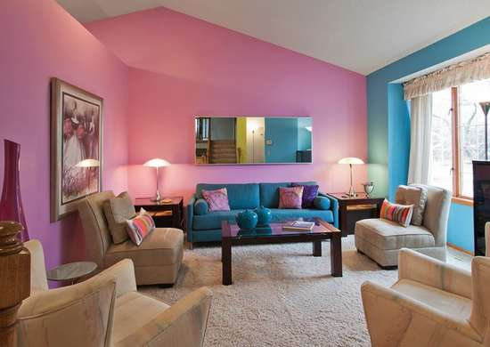 Blue Pink Living Room Ideas - purplebirdblog.com -