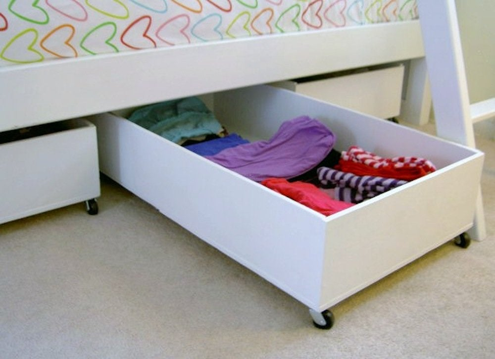 Underbed storage creative storage ideas 9 spots you aren 39 t using bob vila - Kids bed with drawers underneath ...