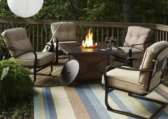 Fire pit patio table