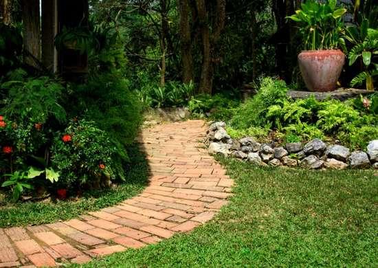 Reclaimed brick path diy