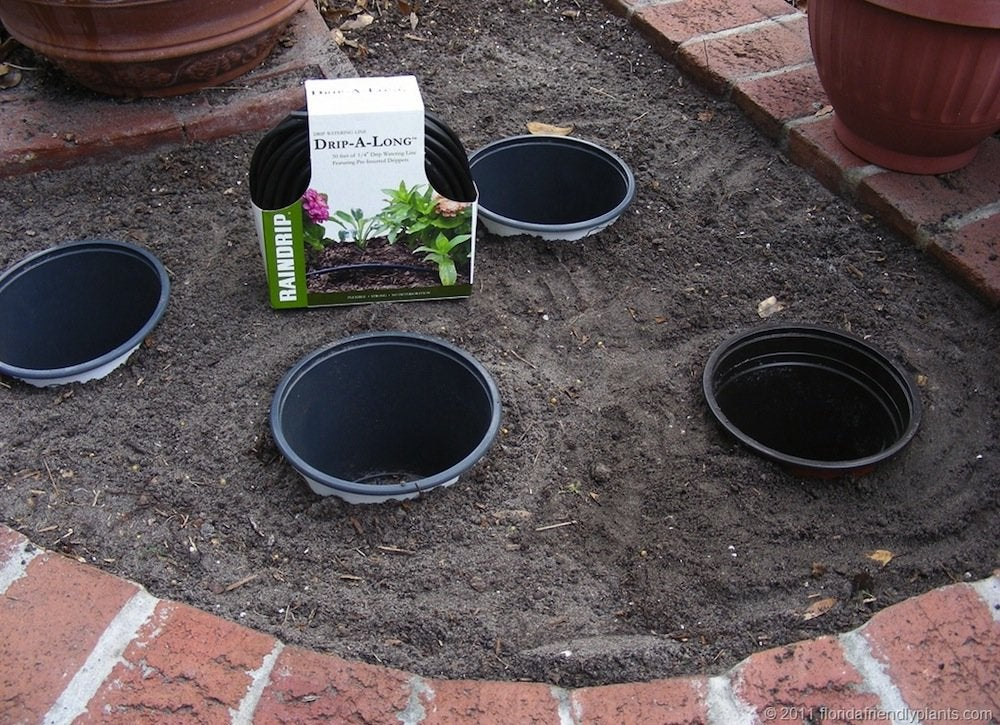 Pots in the ground
