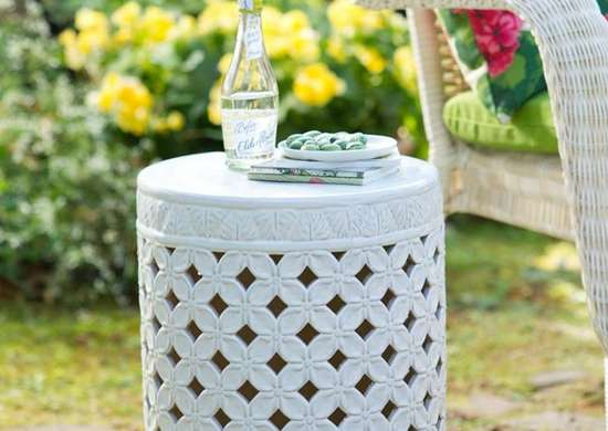 White Garden Stool Small Patio Furniture 9 Double Duty