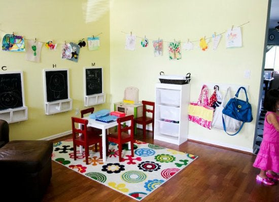 Dining room turned playroom