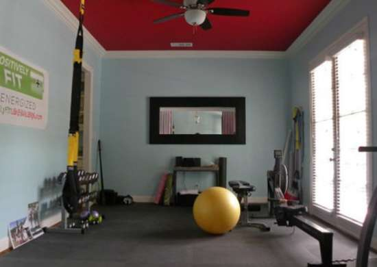 Dining room turned home gym