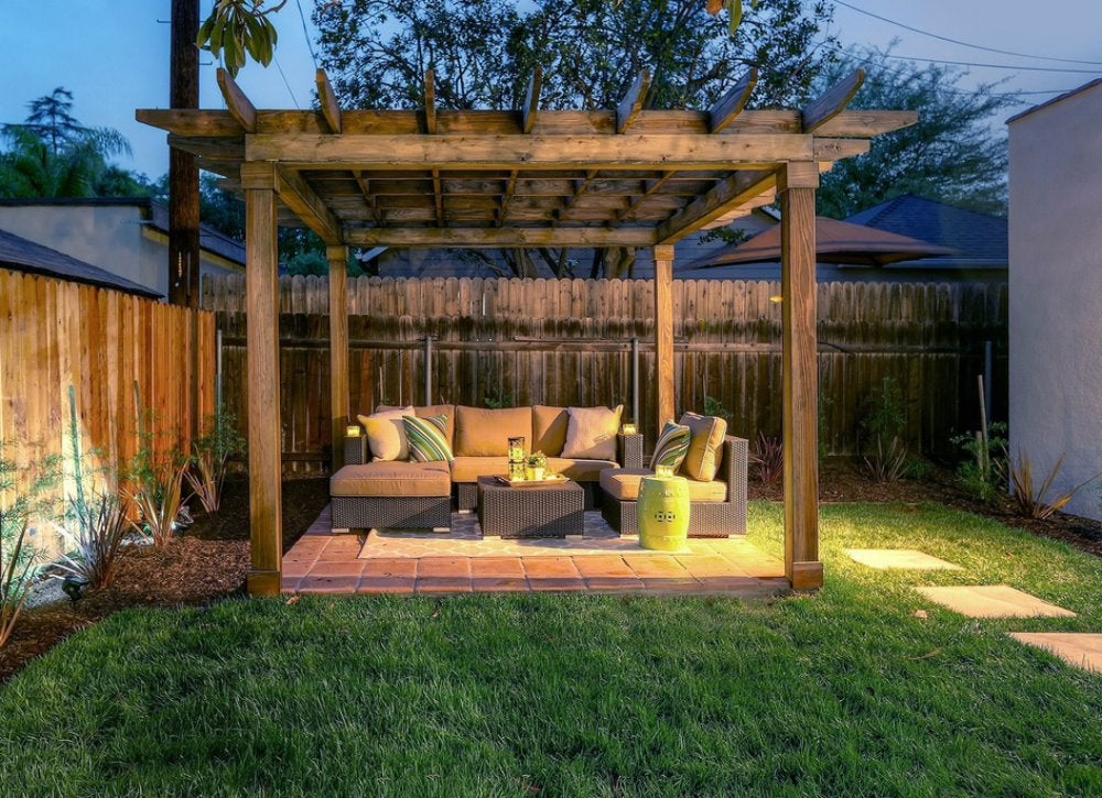 Privacy Ideas For Backyards how to make a decorative fabric fence landscape fabric 1 Of 12