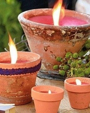 Nadiaknowsgardens candles in a garden pot luminaries6