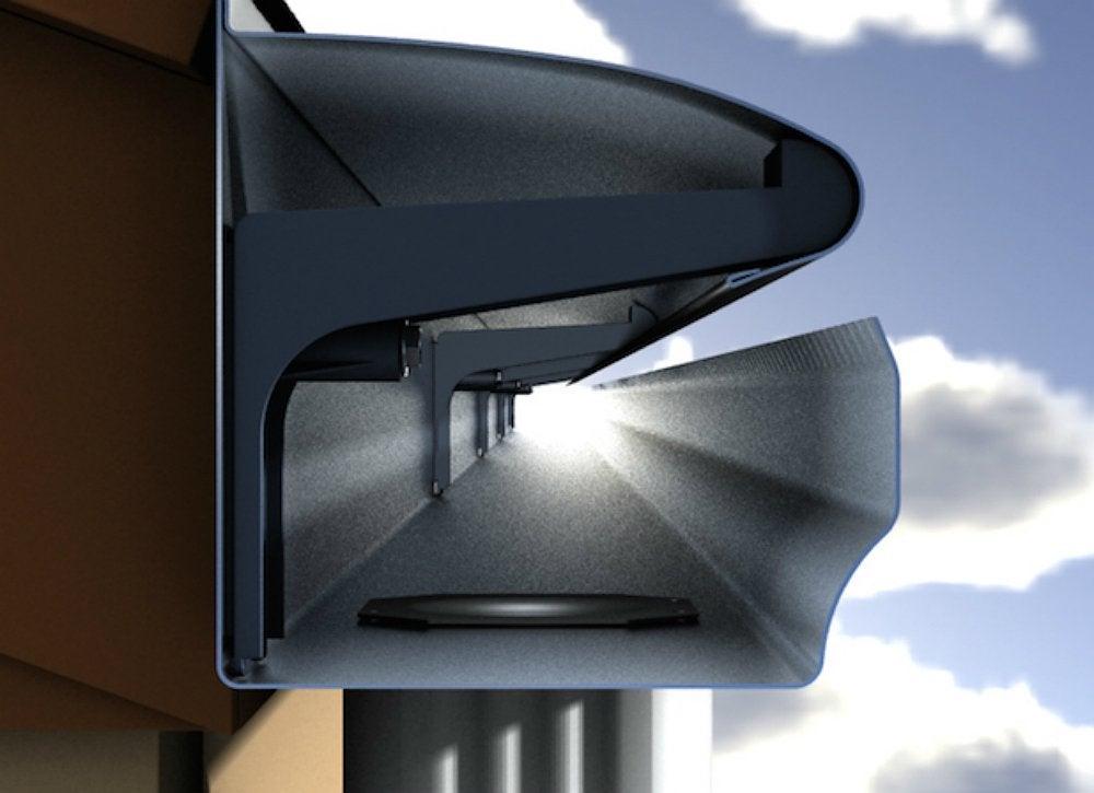 Hooded gutter cutaway