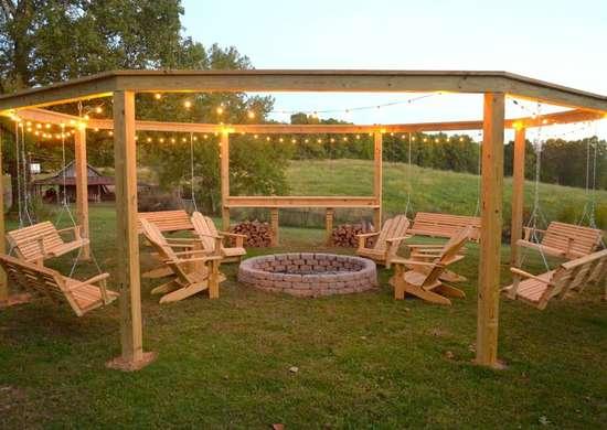 Outdoor hangout   round pergola