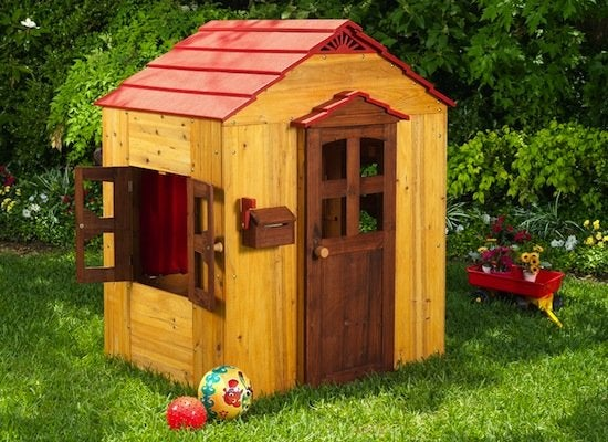 This Scaled Down Wooden Playhouse With Bright Red Accents Is Just Enough For Two Kids To Play Together Comfortably And Will Fit Nicely Into Almost Any