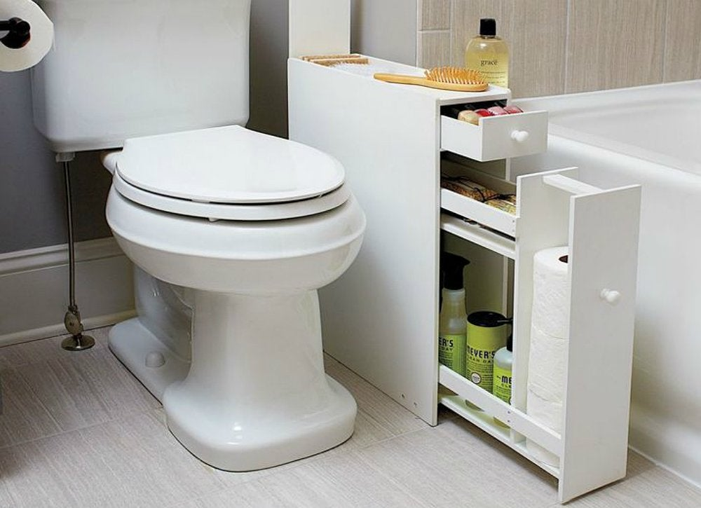 Narrow bathroom cabinet bathroom storage ideas 10 for Narrow bathroom cabinet