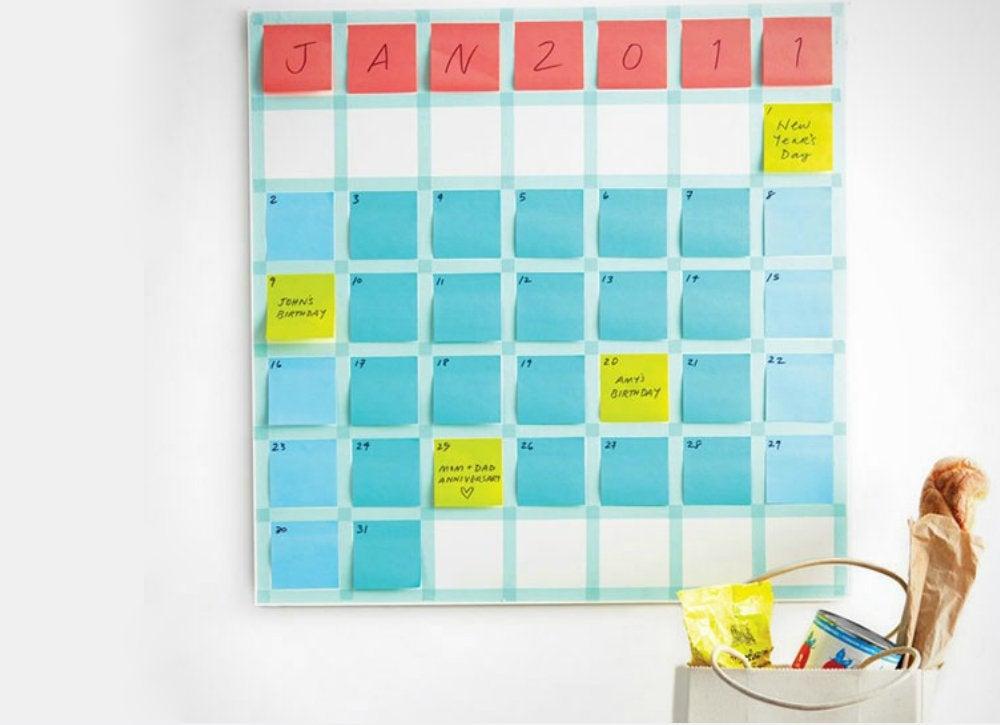 Post it calendar