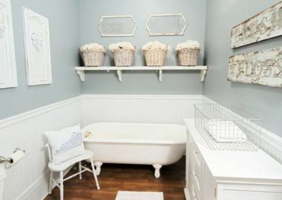 Country bathroomWhite Wainscoting   Small Bathroom Makeovers   Before and After  . Wainscoting Small Bathroom. Home Design Ideas