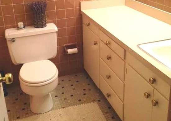 Old tile floor bathroom