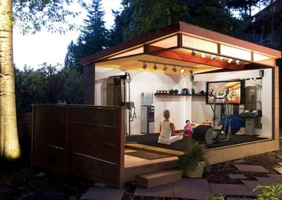 Home gym backyard sheds other uses for outbuildings
