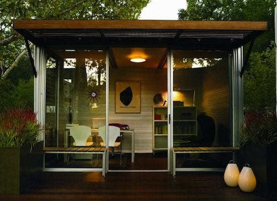 Home office shed backyard sheds 8 other uses for for Prefab work shed