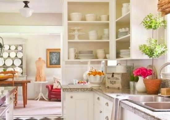 Open shelving cabinets