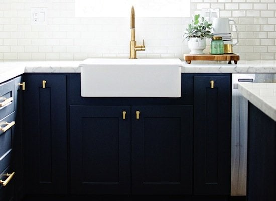 Navy blue painted cabinets
