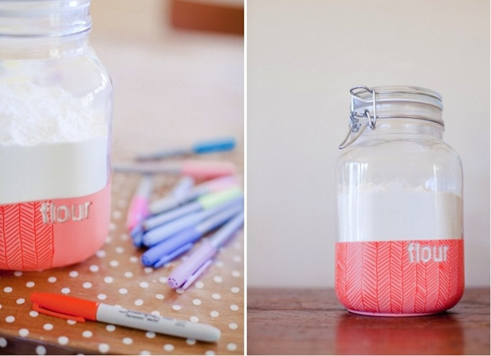 Sharpie pattern on dipped jars