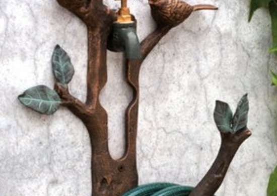 Let The Birds Watch Over Your Garden Hose With This Decorative  Weathered finish Rack. It Installs Easily By Hanging Over A Wall Mount  Faucet Head.